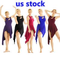 US _Womens Cut Out Asymmetrical Lyrical Dance Costume Dress Ballet Latin Leotard