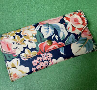 Cath Kidson Purse Wallet Oilcloth BLUE Floral With Detachable Coin Purse Used