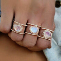 Women Rainbow Moonstone Ring Sterling Silver Boho Round Gemstone Wedding Jewelry