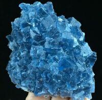 186g Translucent Deep Blue Cubic Fluorite Crystal Cluster Mineral Specimen Ad