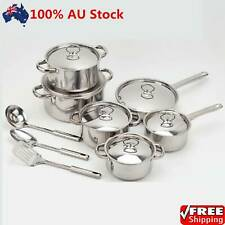 15-Piece Stainless Steel Cookware Set Pots and Pans with Lids + Cooking Tools AU