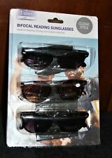 3 Pair CLASSIC Unisex BIFOCAL Sunglasses +3.00 Outdoor Reading UV400 Mass Vision