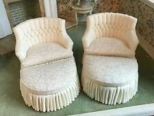 PAIR Vintage Miniature Dollhouse Curved Back Chairs and Ottomans Artisan M. Hart
