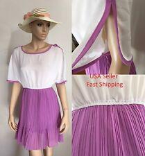 New Women Summer Beach Sexy Pleated Purple Causal  Dress S=0-2 50