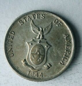 1944 S PHILIPPINES 20 CENTAVOS - AU - Excellent WW2 Era Silver Coin - Lot #A12