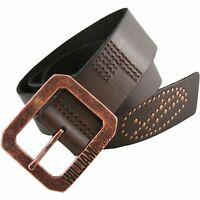 New William Rast Men's Genuine Leather Belt Brown Copper-Tone Buckle Orig. $30