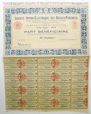 Part Bénéficiaire : SA Hydro-Electrique des Basses-Pyrénées ( 501 )