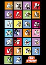 DC Heroes Alphabet Print - Batman, Superman, Green Lantern, Wonder Woman, Flash