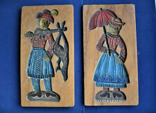 2 farbige geschnitzte Holzmodel Scheunig Lebkuchen Backmodel Fischer mit Frau
