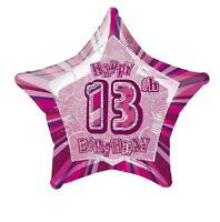 "20"" Pink Happy 13th Birthday Prismatic Foil Helium Balloon Party Decorations"