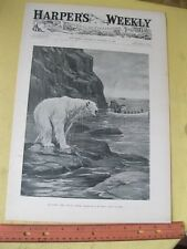Vintage Print,HUNTING POLAR BEAR,Harpers,AB.Frost,Oct 1895