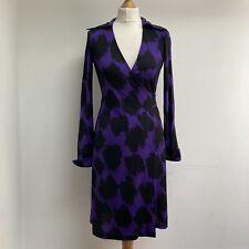 DIANE VON FURSTENBERG DVF Dress Size US 2 UK 6 8 100% Silk Wrap Purple Patterned