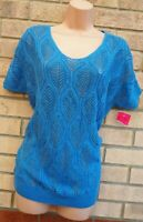 MIZUMI BLUE KNIT KNITTED WHITE LACE ON THE BACK JUMPER TOP BLOUSE TUNIC 12 M