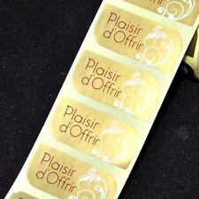 """Lot de 10 étiquettes """" plaisir d'offrir """" or & crème pour emballages cadeaux"""