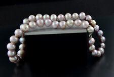 Zuchtperlen-Halskette fliederfarben und lilasilber 10,5-11 mm Wert 900 €