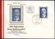 Austria 1974 Hugo Hofmannsthal FDC primo giorno Coperchio #C 24079