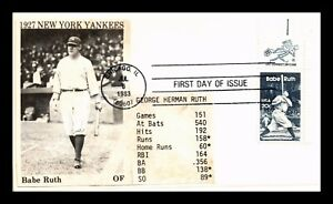 DR JIM STAMPS US NEW YORK YANKEES BABE RUTH HANDMADE FDC COVER MR ZIP