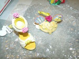 Lotto Di 2 Disney Principessa Belle Scarpa & Mouse Hat Statuina Ornamento Tema