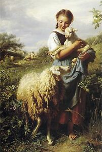Victorian SHEPHERDESS Girl SHEEP Lamb CANVAS Art  LARGE