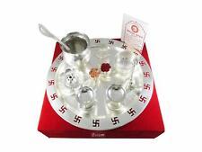 9 Inch Swastik Silver Plated Pooja Thali Set