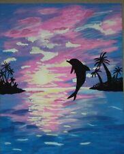 New ListingDolphin Sunset Acrylic Painting Canvas