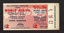 1969 WORLD SERIES GAME 2 TICKET STUB NEW YORK  METS BALITMORE ORIOLES