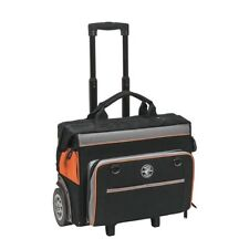 Tool Bag Rolling Durable Black Orange Canvas 24 Pockets Zippered Top 19 in.