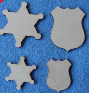 5 or 10 x Wooden MDF Sheriff Badges and Detective Shields craft blanks
