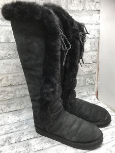 MOU LADIES BLACK SHEEPSKIN RABBIT FUR TRIM KNEE LACE UP HIGH BOOTS SIZE 6.5 UK