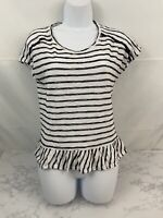 Onque Womens Petite Size PM Short Sleeve Ruffle Blouse Blue White Striped Z