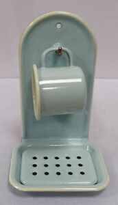 Enamel Soap Dish, Wall Soap Holder, Wall Bowl With Cup, Pastel Light Blue