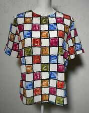 Kathy Che Size S Multi color Short Sleeve Pull over Top Blouse