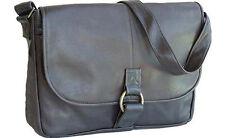 David King Vaquetta Leather Flap Messenger Bag Business Briefcase UM 199 - Black