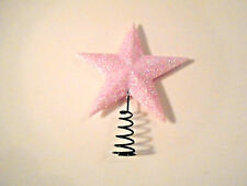 1.5 in. MINI PINK Mica Star Tree Topper Christmas Feather Shabby Tree Chic Rose