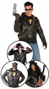 Fancy Dress Leather Look Mens BIKER Jacket Large Fonze Negan Terminator NEGAN