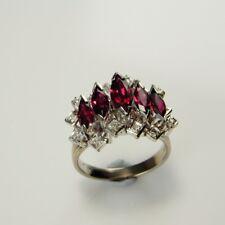 NO HEAT RUBY Diamond Ring UNHEATED Unique Engagement Wedding 18K 18kt White Gold
