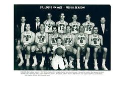 1955 1956 ST. LOUIS HAWKS 8X10 TEAM PHOTO PETTIT   BASKETBALL NBA HOF