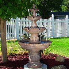 "Large Mediterranean 4-Tier Electric Water Fountain - 49""H-outdoor patio garden"