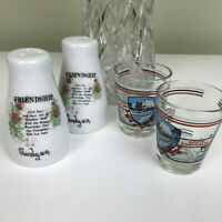 Souvenir Salt N Pepper Shakers and 2 x Shot Glasses - Collectable - Glenelg SA