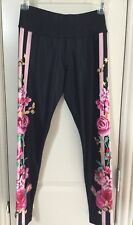 NWT Justice Leggings Pants Black Pink Stripes Roses Floral Bees Size 12