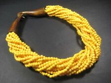 N4847 Multistrand Yellow color Bone handmade BIB Collar Choker Necklace Indian