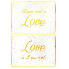 Blanco/Oro Conjunto De 2 Vajilla Dorso de Corcho Manteles -All You Need Is Love