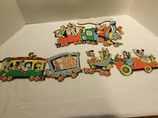VINTAGE 50s DISNEY CARDBOARD WALL HANGING CIRCUS TRAIN-MICKEY-DONALD-VERY RARE