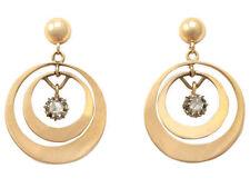 Drop/Dangle Yellow Gold SI2 Fine Diamond Earrings