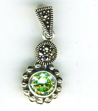 "925 Sterling Silver Pale Green Peridot & Marcasite Pendant  Length 1"" with bail"