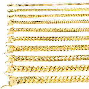 """14K Yellow Gold Solid 2.7mm-11mm Miami Cuban Link Chain Pendant Necklace 18""""-30"""""""