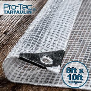 200gsm Heavy Duty Reinforced Mesh Clear Tarpaulin Waterproof Cover Mono Sheet