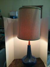 Mid Century Danish Modern Style Blue Ceramic with Teak Wood Table Lamp