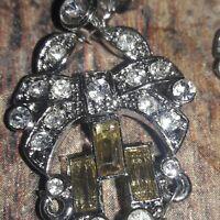 Monet Crystal  Earrings Clear silver Tone Cut Glass dangle Vintage Costume