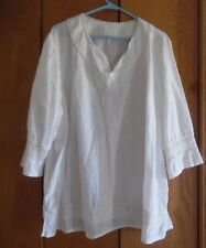 Women's White Crochet  Long Sleeve Tunic Sz 3X